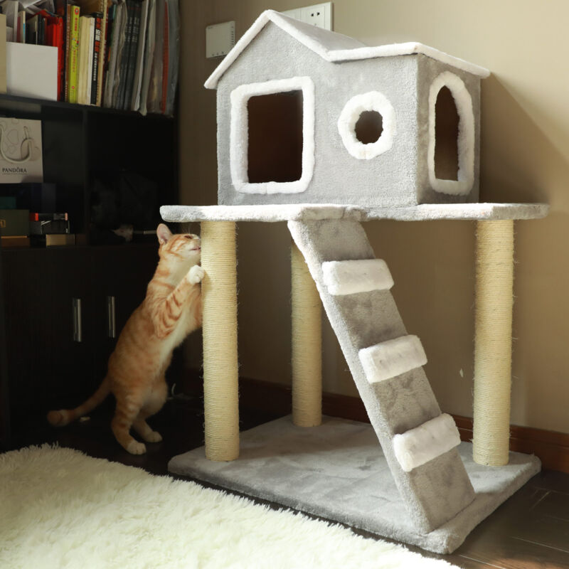 Cat Tree Condo Tower Pet Furniture with Scratching Posts for Kittens cat tower