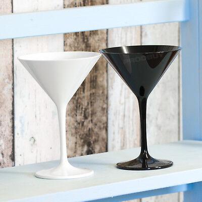 Set of 2 Black White Martini Glasses Plastic Cocktail Wine Champagne Saucers (Black Plastic Martini Glasses)