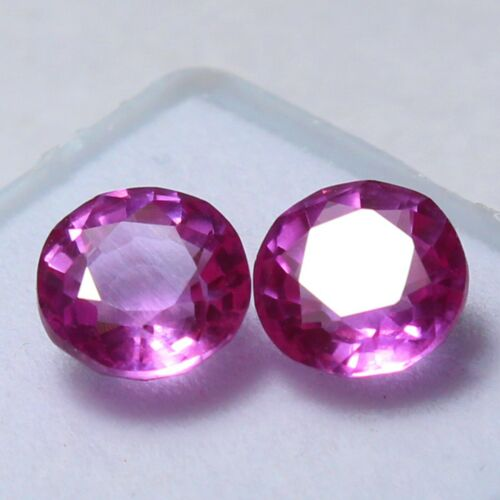 Certified 8x8 mm Round Pair Natural Utah Beryl Bixbite UNHEATED Gemstones 01
