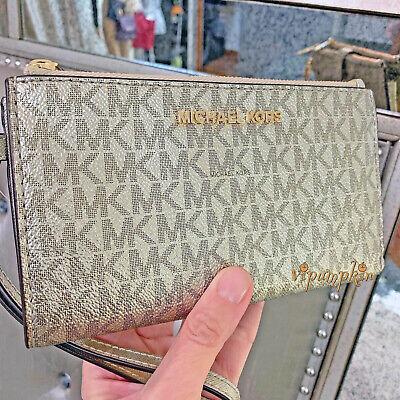 Michael Kors Jet Set Travel Double Zip Wristlet MK Phone Case Wallet Pale Gold