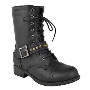 Ladies Biker Boots Womens Army Military Worker Flat Low Heel Lace Up Combat Size