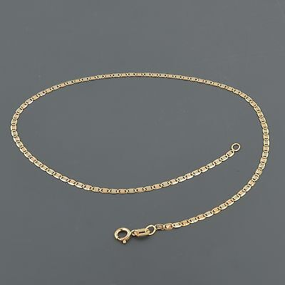 "14K TRI-COLOR GOLD 1.65MM FLAT STAR MARINIER LINK 10"" INCH ANKLET"