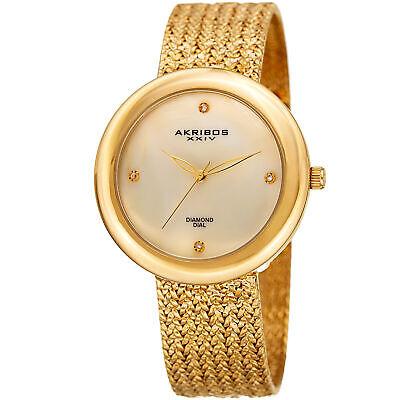 Women's Akribos XXIV AK903YG Diamond Hour Marker Gold Tone Steel Mesh Watch