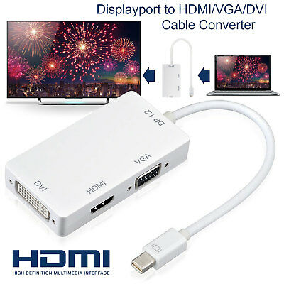 3 In 1 Thunderbolt Mini Display Port DP To HDMI DVI VGA Adapter Cable For Apple Apple Dvi Hdmi Cable