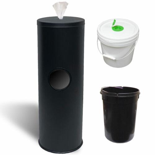 Eagle Wipes Black Steel Fitness Cleaner Gym Wipe Dispenser, Bucket & Trash Can