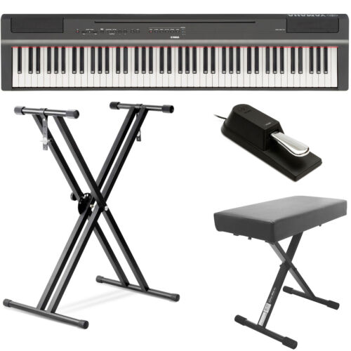 Yamaha P125 88 Digital Piano - Black Bundle w/ Double X Stan