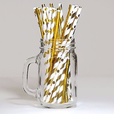 Pack of 30 Paper Straws - Foil Gold & White Mix - NEW - Party - Celebrations