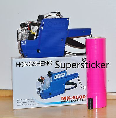 Mx-6600 10 Digits 2 Lines Price Tag Gun Labeler 1 Ink 5000 Pink Tags
