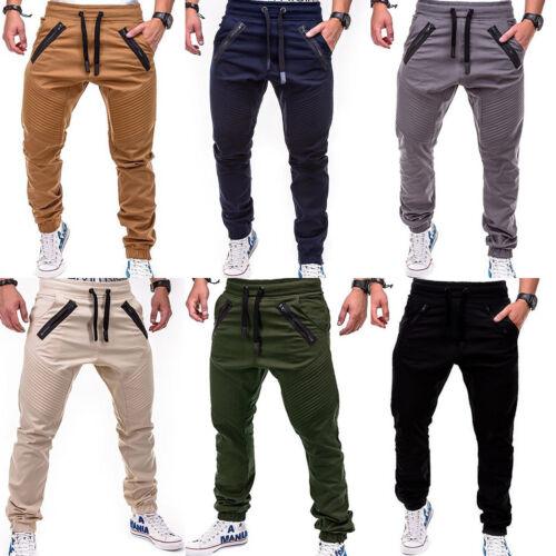 Mens Ruched Slacks Long Pants Trousers Fashion Harem Jogger