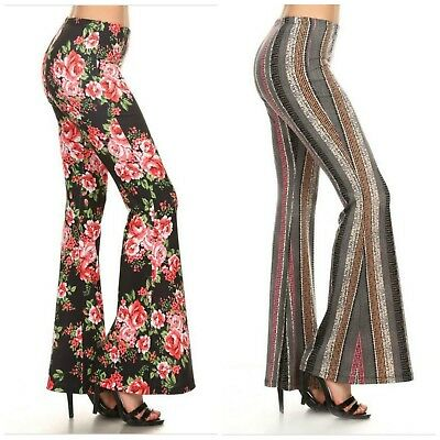 New S-2X Chatoyant Hippie Boho Bell Bottom Flare Stretch Pants Yoga Plus Size - Plus Size Bell Bottoms