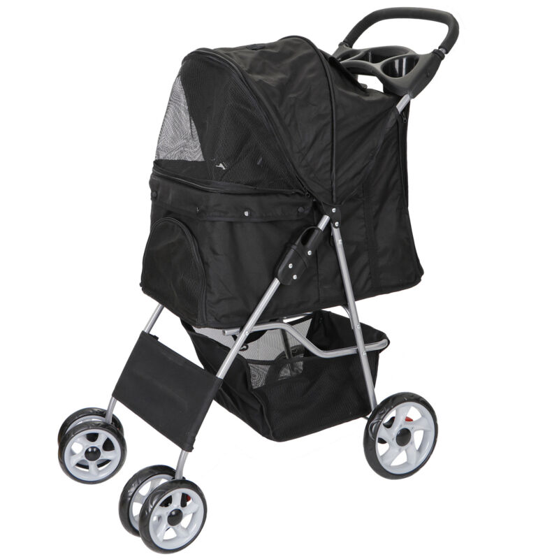 Foldable Dog Stroller Pet Travel Carriage for Pets with  Carrier Cart Detachable