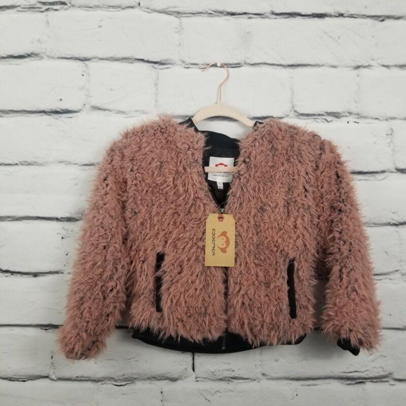 Appaman Faux Fuzzy Fur Jacket Rose Quartz Girls Size 8 Coat Pink Full Zip