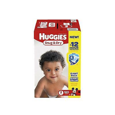 Huggies Snug and Dry Diapers Size 3 180 Count Free Shipping