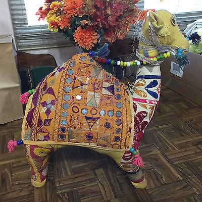 "16"" Vintage Indian Folk Art Camel Rajasthan India Shisha Mirror Embroidered BOHO"