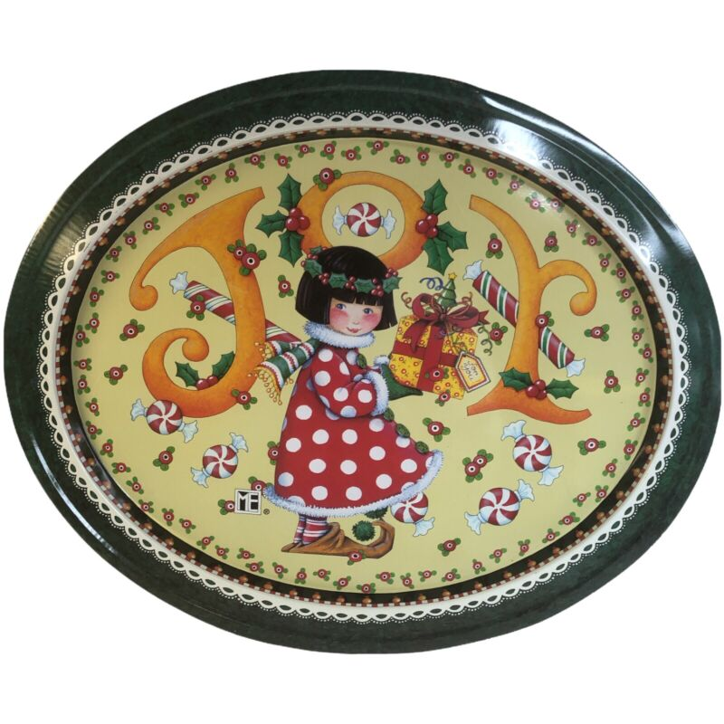 """ME Inc MARY Engelbreit Christmas JOY Tin Tray 15""""x13"""" Oval"""