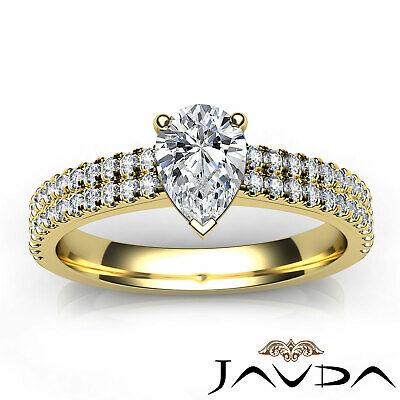 U Cut Prong 2 Row Shank Pear Diamond Engagement Anniversary Ring GIA H VS2 1Ct 10