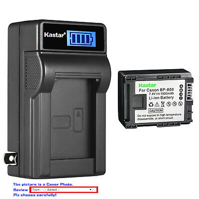 Kastar Battery LCD Wall Charger for Canon BP-808 CG-800 & Canon FS40 Camcorder
