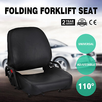 New Universal Folding Forklift Seat Fits Komatsu Seatbelt Included Fits Clark