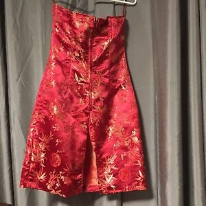 Cute Asian Inspired Red Cocktail Dress- Size 6