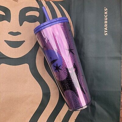 Starbucks Halloween 2020 Black Cat Moon Stars Purple Cold Cup Tumbler Venti 24oz