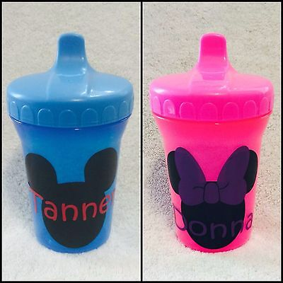 Custom Sippy Cups (Sippy Cup Sippie Personalized Custom Boy Girl Baby Toddler Gift Pink Blue)