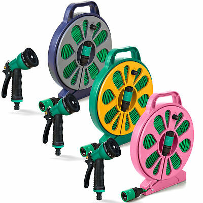 Tangle Free Garden Hosepipe Spray Gun Reel Stand Tap Flat Hose Pipe 50FT 15M