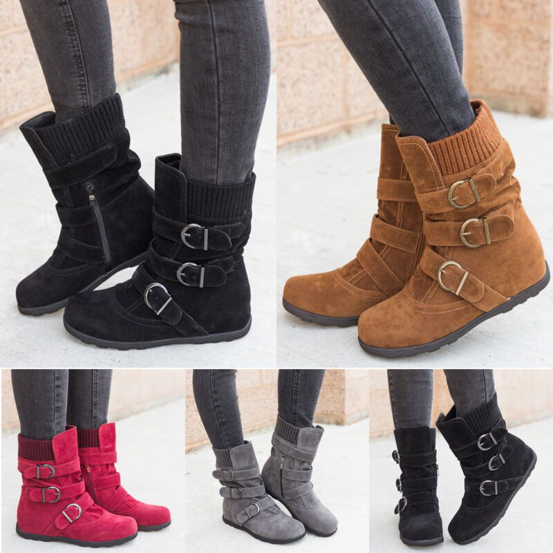 Womens Winter Warm Matte Soft Boot Shoes Buckle Flat Short A