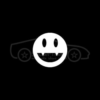 VAMPIRE SMILEY Sticker JDM Vinyl Decal Car Import Fangs Teeth Cute Blood Suck :)](Car Fangs)