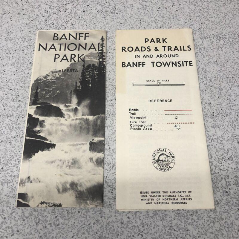 Vintage Travel Guide Brochures BANFF National Park Alberta Canada Road Trail Map