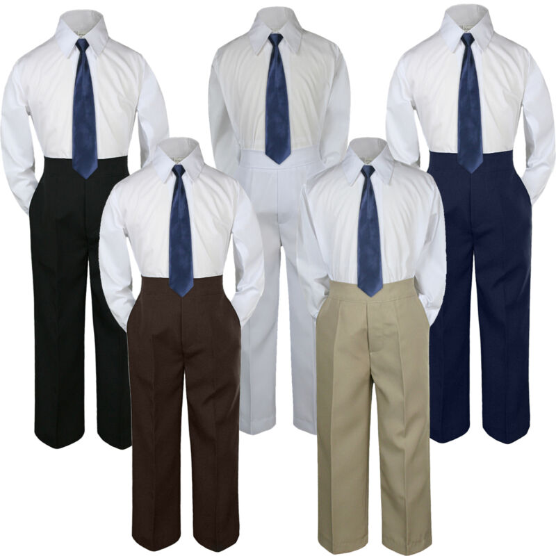 3pc Navy Blue Tie Shirt Suit for Baby Boy Toddler Kid Pants Color by Selection