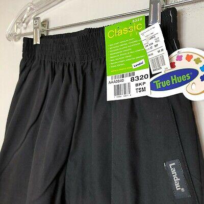 Landau Classic Fit Scrub Pants 8320 Womens BKP Black Front Seam New With -
