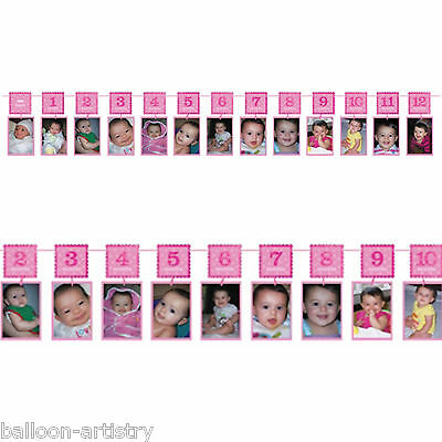 3.65m Pink 1st Birthday Girl Party Monthly Photo Glitter Garland Decoration