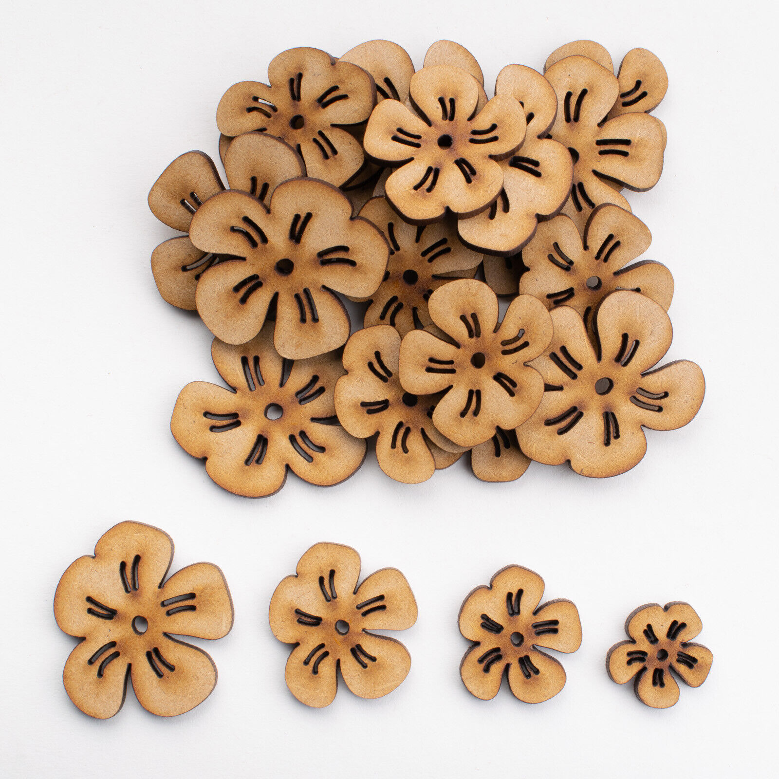 Flowers Wooden 3mm Thick Craft Shapes Pack of 10