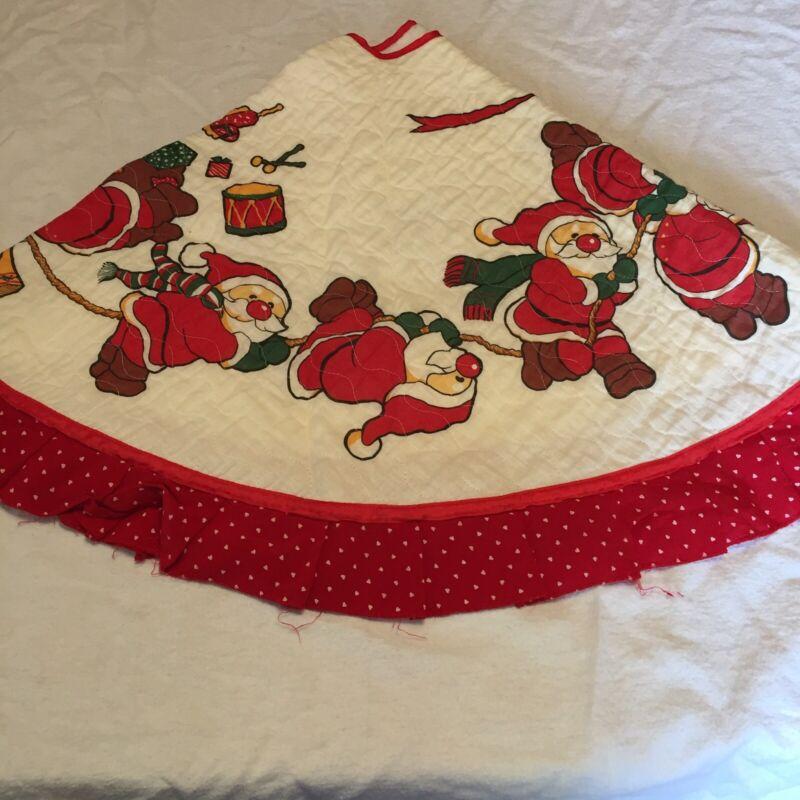 "Vintage Christmas Tree Skirt Santa 40"" Round Made in Taiwan"