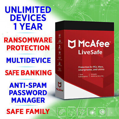 McAfee LiveSafe 2020 / 3 5 10 unbegrenzte Geräte 1 Jahr /Windows Mac iOS Android