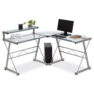 L-shape Computer Glass Desk Corner Pc Laptop Table Workstation Home Office Clear