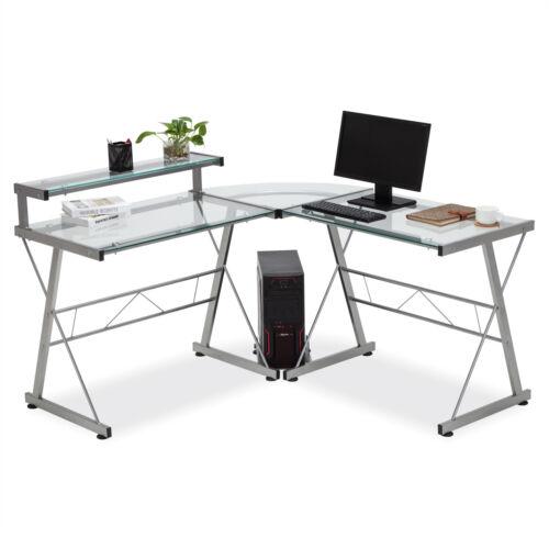 L-Shape Computer Desk Corner PC Laptop Table Workstation Home Office Furniture