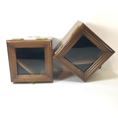 Lot of 2 Square Diamond Wood And Glass Hanging Baseball Display Cases Oak -