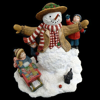 "SNOWMAN with CHILDREN / VINTAGE 1998 LANG & WISE / BALDWIN / ""WEEKEND PLAY"""