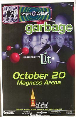"""GARBAGE & LIT """"M-TV TOUR"""" 1999 DENVER CONCERT POSTER - Alternative Rock Music"""