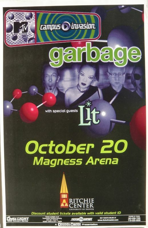 "GARBAGE & LIT ""M-TV TOUR"" 1999 DENVER CONCERT POSTER - Alternative Rock Music"