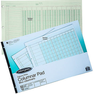 Wilson Jones G7212a Columnar Pad 12 Column Green Tint Column Write 11 X 16-38