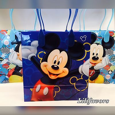 12 PCS Mickey Mouse Candy Goodie Bags Party Favors Candy Loot Treat Birthday Bag - Mickey Treat Bags