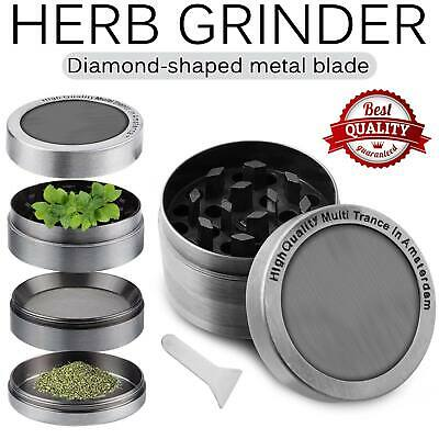 Herb Spice Grinder (Tobacco Herb Grinder Spice Herbal Alloy Smoke Crusher 4 Piece Metal)