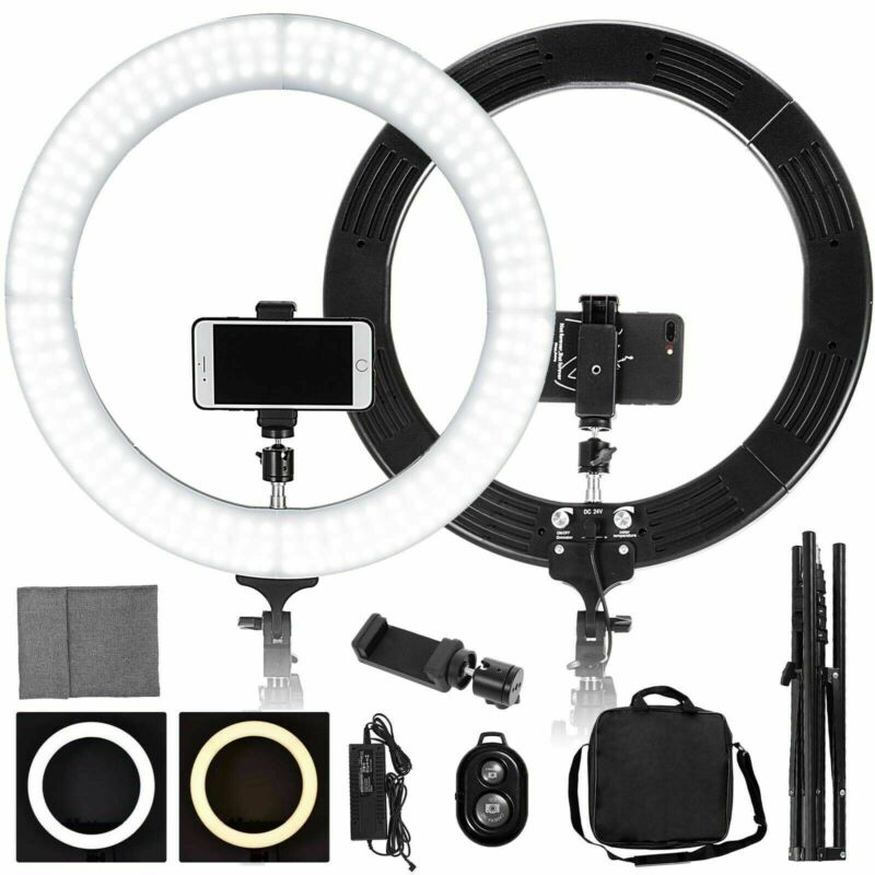 "19"" LED SMD Ring Light Kit with Stand Dimmable 5500K for Makeup Phone Camera"