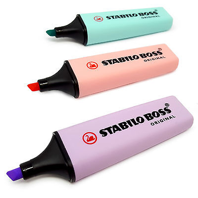 3 x STABILO BOSS Original Pastel Highlighter Markers - Lilac, Pink and Turquoise