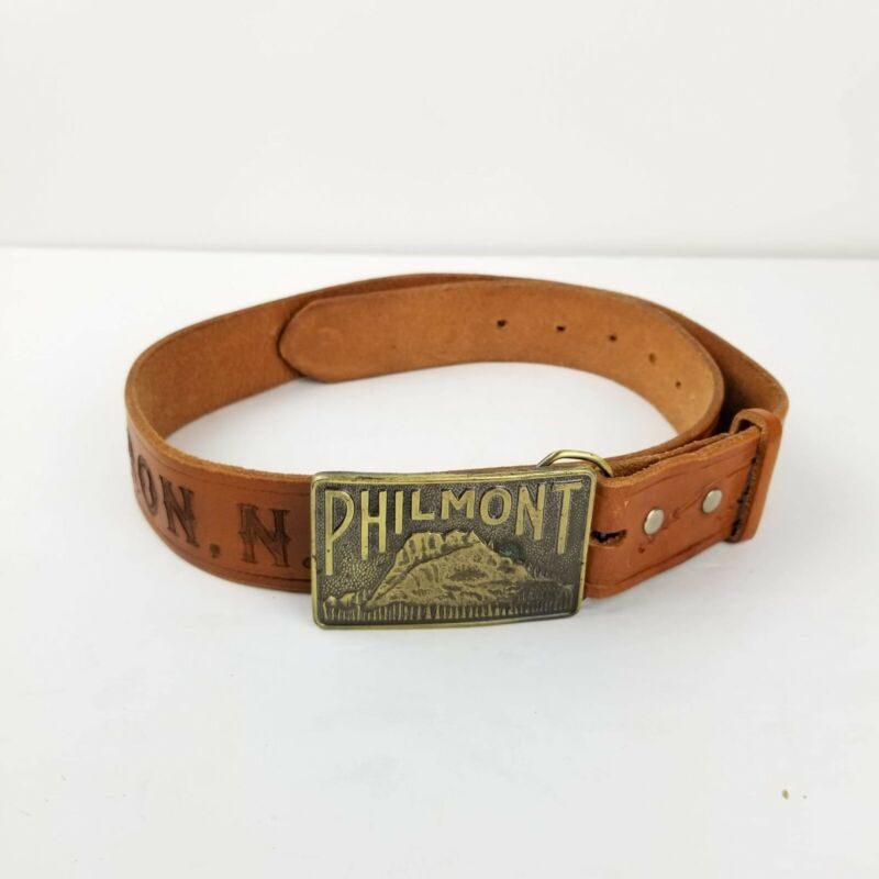 Philmont Vintage Boy Scouts CimarronNM Tooled Brown Leather Belt  Buckle Size 34