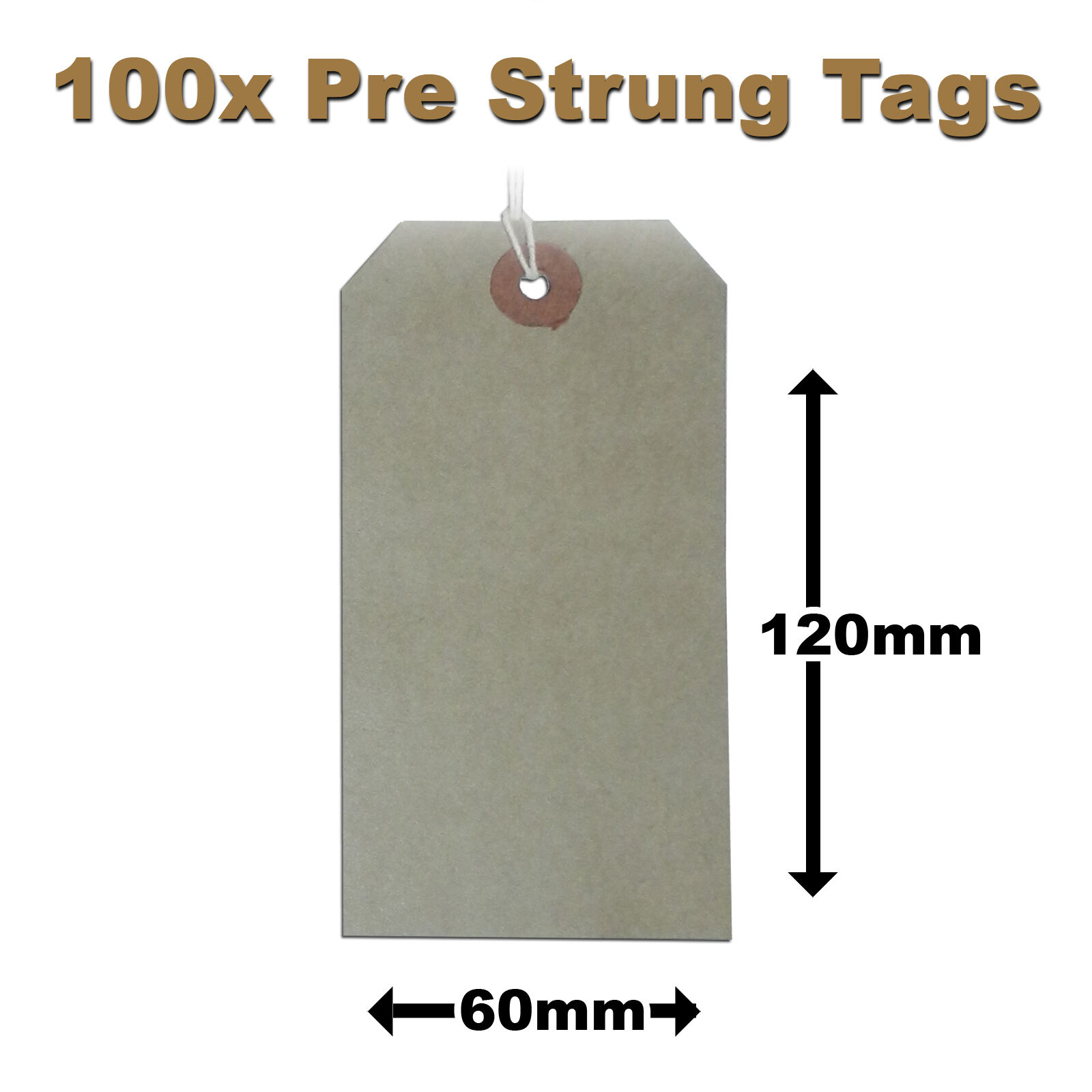 Pre-Strung Brown / Manilla / Buff Price Tags Tickets 120mm x 60mm 5MS x 100 (H3)