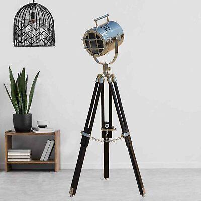 Black Wooden Nautical LED Tripod Table/Floor Lamp LED Living room Vintage Shade