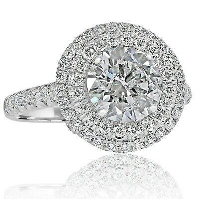 GIA 3.07 Carat Round Triple Excellent Brilliant Diamond Engagement Ring 18k Gold